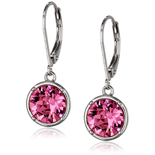 3a666d9fc Sterling Silver Round Leverback Dangle Earrings Made with Swarovski Crystal