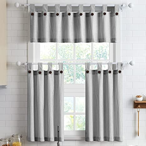 Amazon Com July Joy 3 Piece Cotton Kitchen Curtains And Valances Set For Small Windows Short Curtains 36 Inches Length For Cafe Bathroom Tab Top 56 X 36 Black Kitchen Dining