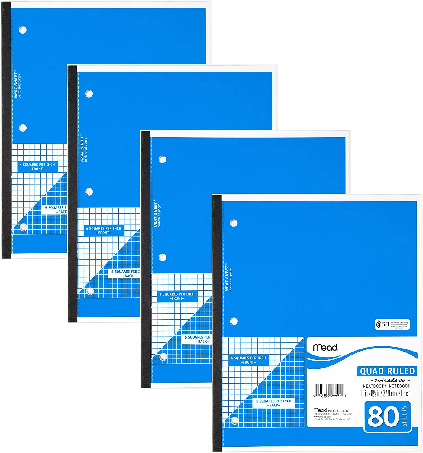 Mead Notebook Wireless 1 Subject Quad 2021 new x 8-1 Our shop OFFers the best service 11
