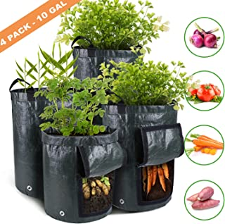 Ohuhu 4-Pack 10 Gallon Garden Potato Grow Bags, Vegetables Plant Growing Bags, Durable Planter Bags, Upgraded PE Aeration Pots with Portable Access Flap& Handles, for Potato, Tomato, Carrot etc