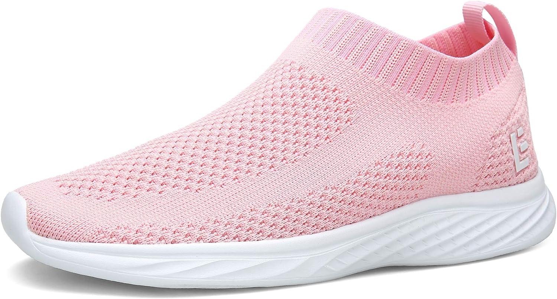 Escort Runners East Lander Walking shoes for Men and Women Flyknit Slip-on Sneakers Light Athletic shoes SPT003-W1-40,Pink01,9.5 B(M) US Women 7 D(M) US Men