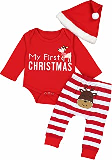 Christmas Outfits Baby Boys Girls My First Christmas Rompers with Xmas Hat Clothes Set