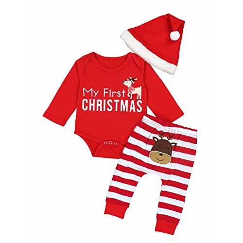 f5b21bc42b4c1 Christmas Outfits Baby Boys Girls My First Christmas Rompers with Xmas Hat  Clothes Set