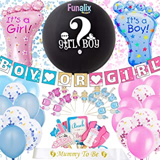 FUNALIX Gender Reveal Decorations (105) Pieces | Baby Gender Reveal Party Supplies | Big Gender Reveal Balloon, Boy or Girl Banner, Pink Blue Gold Confetti Balloons, Photo Booth Props