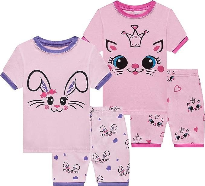 Benaive Pajamas for Girls, Pjs for Girl Cotton Summer Pajama, 4-Piece Children Shorts Set