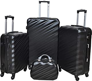 New Travel, set of 4 Pcs Luggage Travel Bags- Black0148/4p set