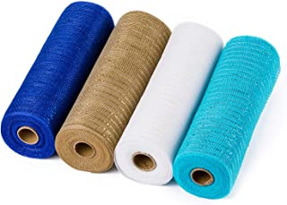 LaRibbons Deco Poly Mesh Ribbon - 10 inch x 30 feet Each Roll - Metallic Foil White/Cream/Blue/Royal Set for Wreaths, Swags and Decorating - 4 Pack