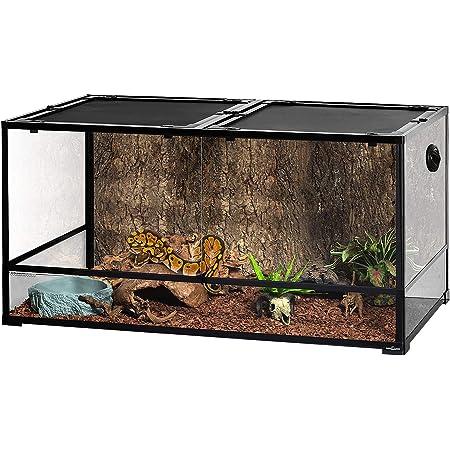 "REPTIZOO Large Glass Reptile Terrarium 48"" x 24"" x 24"", Tall & Wide Reptile Habitat Tank 120 Gallon with Sliding Door Screen Ventilation"