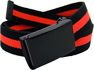 Men's Black Flip Top Military Belt Buckle with Canvas Web Belt