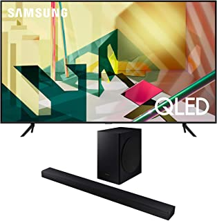 "Samsung QN82Q70TA 82"" QLED Ultra High Resolution Smart HDR 4K TV with a Samsung HW-T650 Bluetooth Soundbar with Dolby Audi..."