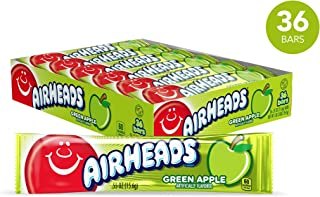 Airheads Candy, Individually Wrapped Full Size Bars for Halloween, Green Apple, Bulk Taffy, Non Melting, Party, 0.55 Ounce (Pack of 36)