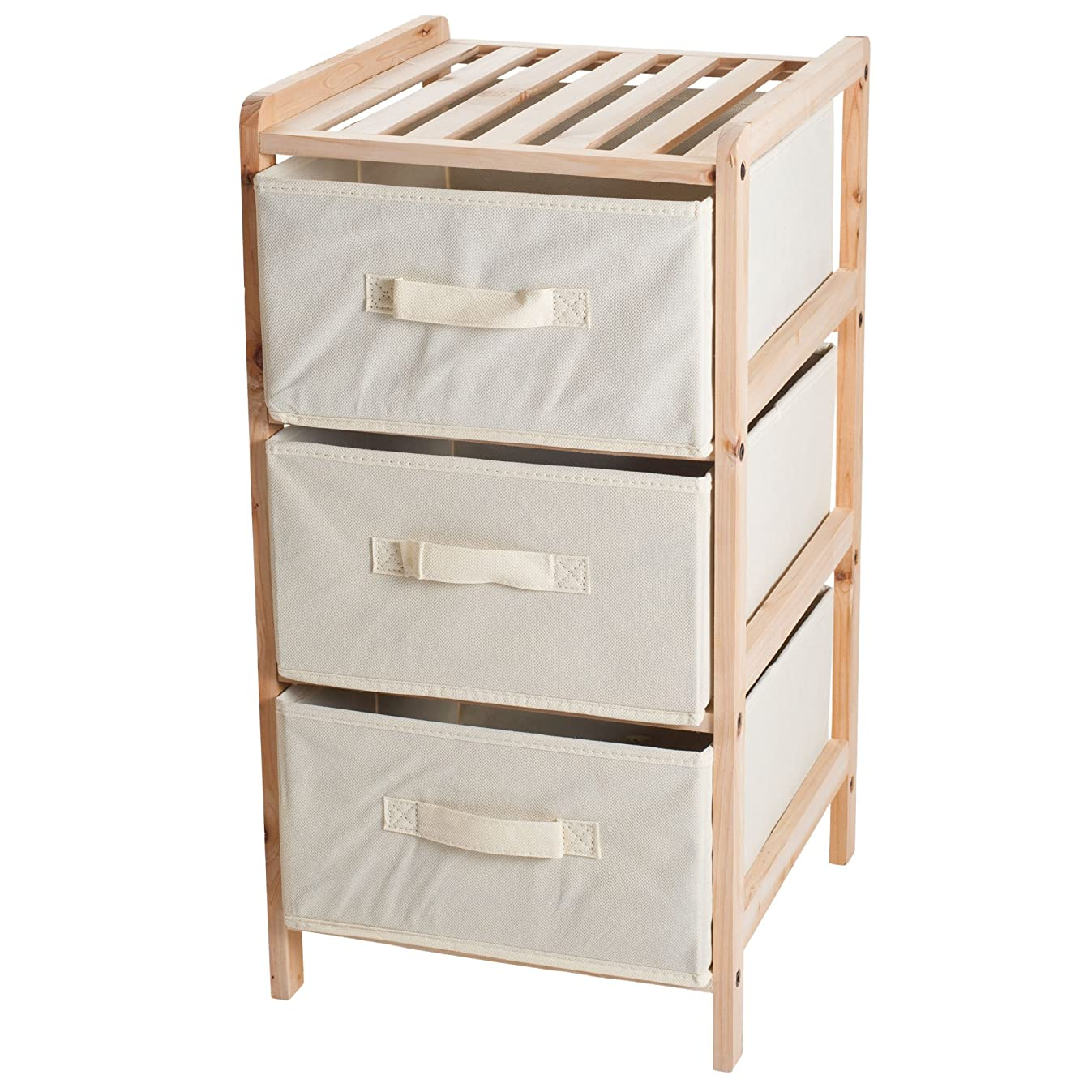 Lavish Home Organization Drawers with Natural Wood Shelf and Three Fabric Storage Bins- Lightweight and Perfect for Dorms, Bathrooms or Bedrooms