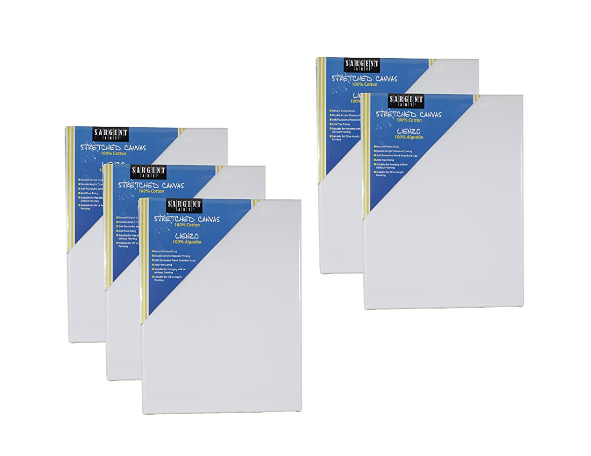Sargent Art 11 x 14 Inch Stretched Canvas Pack of 5, 90-2043 5 Piece