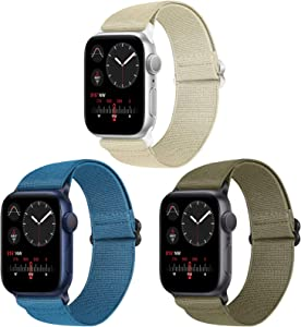 Vodtian Nylon Loop Elastic Watch Band Compatible with Apple Watch 38mm 40mm, Women Men Adjustable Replacement Sport Straps for iWatch Series 6/5/4/3/2/1/SE (Navy Blue+Khaki+Camel, 38mm/40mm)