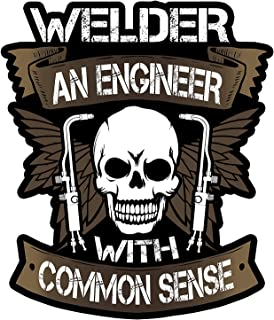3pcs Cool Stickers | Engineer with Common Sense | Welding Welder Decal | Oilfield Trash Hart Hat Sticker | USA Decals Awesome Great Gift