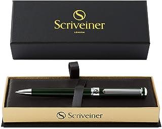 British Racing Green Ballpoint Scriveiner - Stunning Luxury Pen with Chrome Finish, Schmidt Black Refills, Best Ball Pen G...