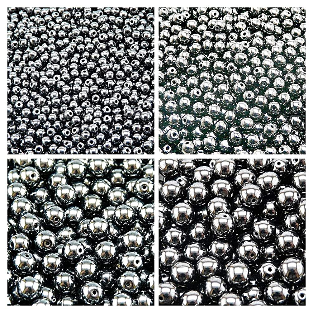 Pressed Czech Glass Beads Round 3mm, 4mm, 6mm, 8mm, Jet Hematite. Set 1CRP 404 (3RP008 4RP043 6RP1036 8RP011)