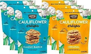 Hippie Snacks Cauliflower Crisps Variety Pack, 3 Original, 3 Classic Ranch