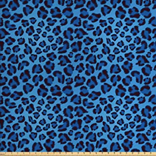 Lunarable Animal Print Fabric by The Yard, Leopard Skin Animal Print Design Creative Contemporary Artwork, Decorative Fabric for Upholstery and Home Accents, 2 Yards, Blue