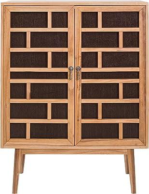 Rebecca Mobili Buffet de Salon Marron, Meuble pour Salle a Manger, 2 Portes, en Bois Marron, Style Moderne - Dimensions: 120 x 90 x 45 cm (HxLxL) - Art. RE4805