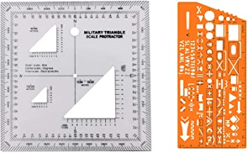 Combo of Military UTM/MGRS Coordinate Scale Map Reading and Land Navigation Topographical Map Scale, Protractor and Grid Coordinate Reader Pairs with Compass & Stencil with Military Marking Symbols