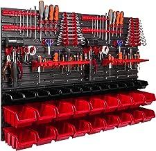 Opbergsysteem wandrek 1152 x 780 mm, gereedschaphouders, 32 stuks. Stapelboxen gietenrek zichtbergrek, extra sterke wandpl...