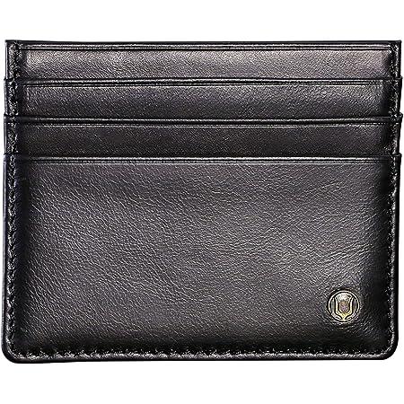 Cronus & Rhea - Card Holder Made of Leather (Argos) - Credit Card Case ID Card Holder - with Gift Box - Men Women (Black)