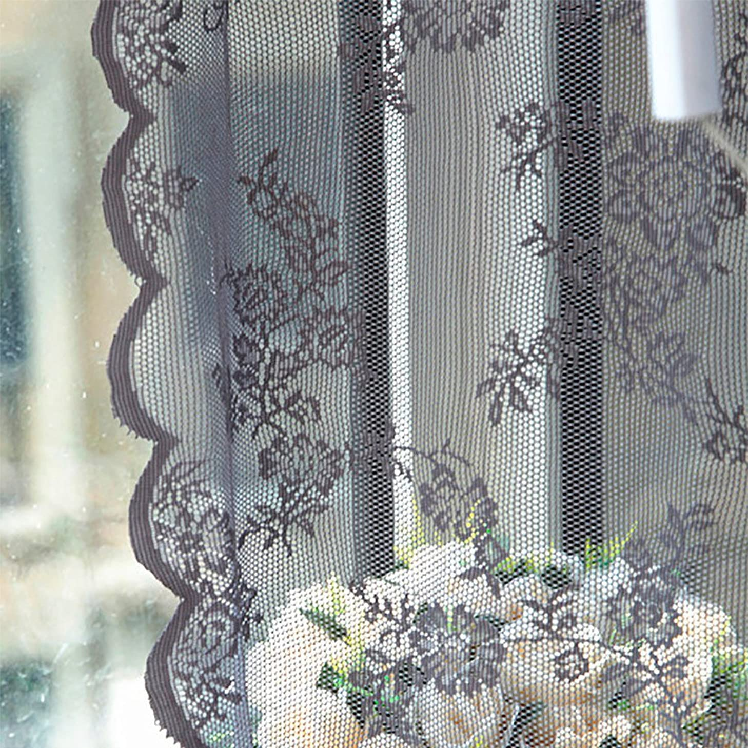 Jieou Sheer Curtain Tulle Window Lace/Crochet Trim Treatment Voile Drape Valance Wide Tailored Window Panel, Ruffle Edge, Rod Pocket (Gray, 180cm x 145cm)