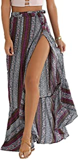 Women's High-Waisted Boho Asymmetrical Hem Tie up Maxi Beach Skirt