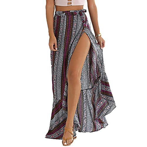 d114ddf519 BIYOUTH Women's High-Waisted Boho Asymmetrical Hem Tie up Maxi Beach Skirt