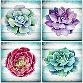Loomarte Succulents Nature Pictures Wall Art Watercolor Botanical Green Plant Wooden Texture Giclee Painting Canvas Prints...
