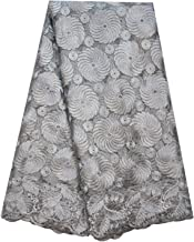 SanVera17 Hot-Drilling Lace Glitter Stone African Lace Fabrics Nigerian Embroidered and Guipure Cord Lace for Party Wedding Solid Color (Gray) 5 Yards