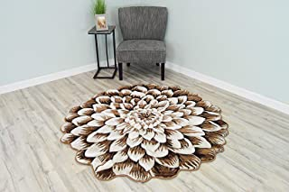 Flowers 3D Effect Hand Carved Thick Artistic Floral Flower Rose Botanical Shape Area Rug Design 303 Brown Beige 2'7''x2'7'' Round