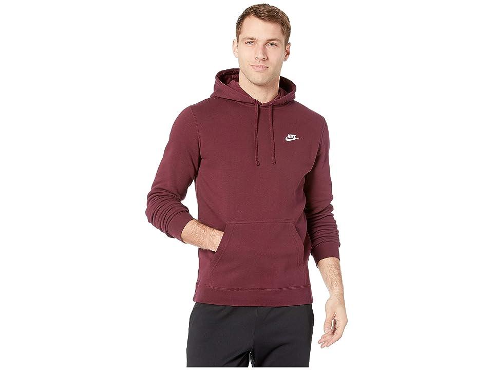 Nike Club Fleece Pullover Hoodie (Night Maroon/Night Maroon/White) Men