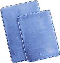 Clara Clark Memory Foam Bath Mat Ultra Soft Non Slip and Absorbent Bathroom Rug, Set of 2 - Small/Large, Calm Blue