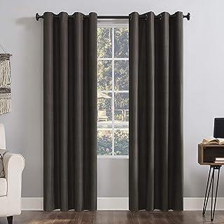 "Sun Zero Columbia 2-pack Thermal Energy Saving 100% Blackout Grommet Curtain Panel Pair, 50"" x 108"", Walnut"