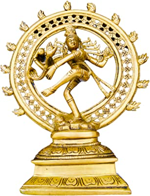 QT S Shiva Nataraja Statue Brass Antique Lord of The Cosmic Dancer Hindu God Shiva Statue Sanskrit Hinduism Supreme Deity Figurine Handmade Nataraj Shiva Famous in Nepal/India