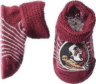Two Feet Ahead NCAA Florida State Seminoles Infant Stripe Gift Box Booties, New Born, Crimson/White
