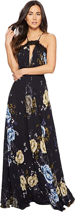 JILL JILL STUART - Floral Printed Gown with Lace Detail