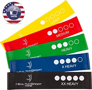 HealthySport - Resistance Bands for Legs and Butt - Premium Matte Resistance Loops for 80 Day Obsession - Exercise Mini Bands Set for Full Body Workout - 10 inch