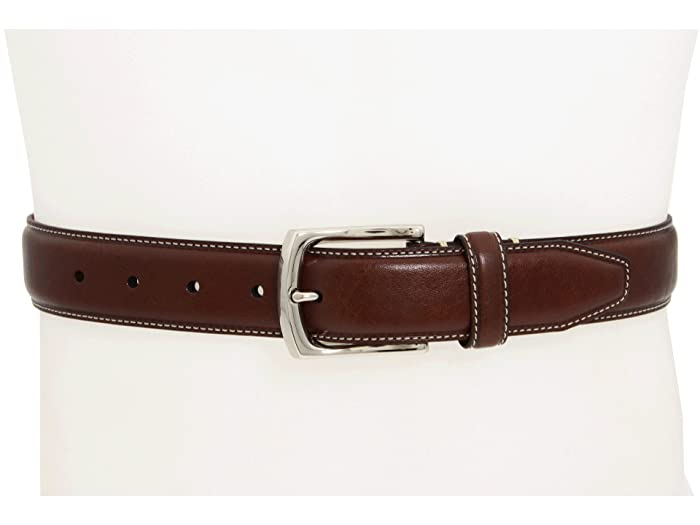 Johnston & Murphy Topstitched Belt (Dark Brown) Men