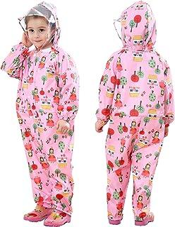 JinBei Impermeable para Niñas Niños Chubasqueros Chaquetas Capa de Lluvia Encapuchado Mono de Bolsillo Poncho Pantalon Ref...