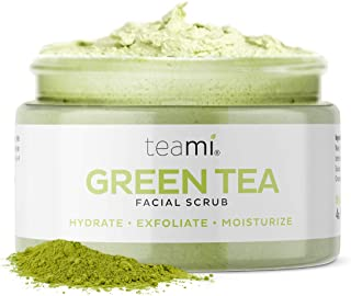 Teami Matcha Green Tea Face Scrub - Natural Face Exfoliator for All Skin Types - Organic Exfoliating Face W...