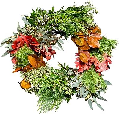Club Botanic Celebrate Christmas Wreath | Fresh Holiday Wreath | Fresh Foliage Wreath | Live Foliage Wreath |Fresh Wedding Wreath | Fresh Christmas Wreath