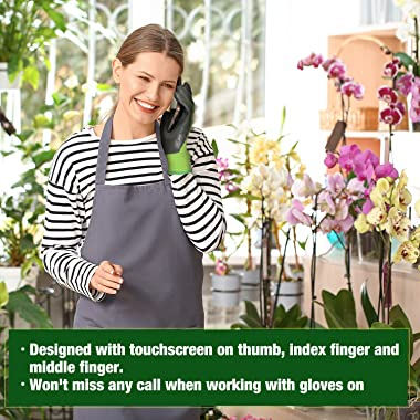 WORKPRO 2 Pairs Garden Gloves, Working Gloves with Eco Latex Palm Coated, Works Gloves with Touchscreen for Weeding, Digging,