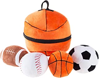 Hey! Play! My First Sports Bag Playset- Plush Soccer, Baseball, Basketball & Football for Babies, Infants & Toddlers- Gift...