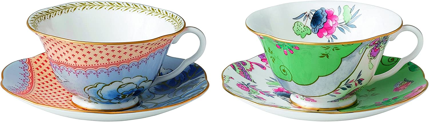 Wedgwood 40003931 Butterfly Bloom Tea Story Teacup and Saucer, bluee Peony and Posy, Set of 2