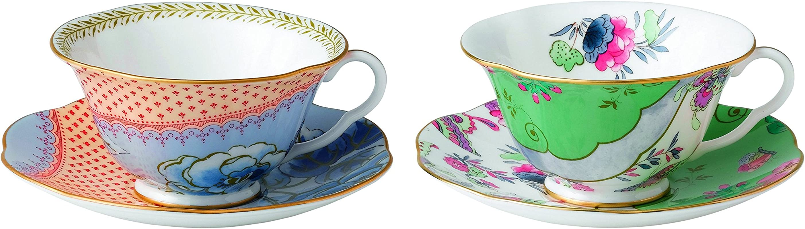 Wedgwood 40003931 Butterfly Bloom Tea Story Teacup And Saucer Blue Peony And Posy Set Of 2