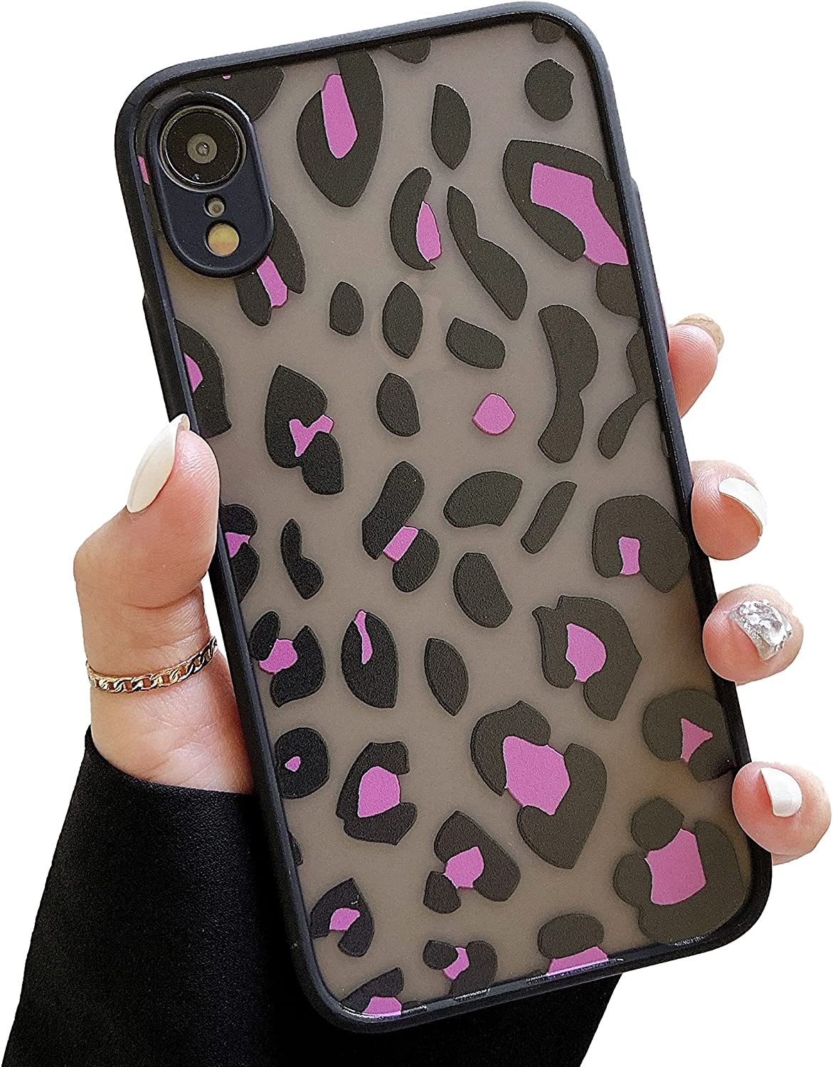 ZTOFERA Compatible with iPhone XR Case, Shockproof Silicone Protective Bumper Translucent Frosted Hard PC Back Case Leopard Zebra Pattern Slim Phone Cover for iPhone XR (Leopard - Hot Pink)