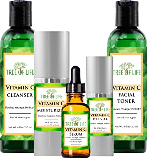 Complete Vitamin C Combo Pack - Vitamin C Serum, Moisturizer, Eye Gel, Cleanser, and Toner